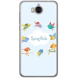 Funda Gel Tpu para Huawei Y6 2017 Diseño Spring Birds Dibujos