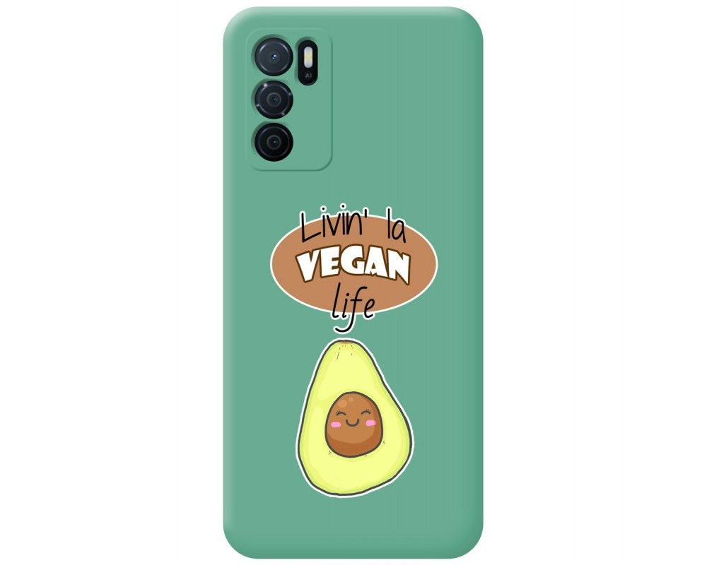 Funda Silicona Líquida Verde para Oppo A16 / A16s diseño Vegan Life Dibujos