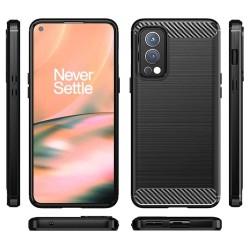 Funda Gel Tpu Tipo Carbon Negra para OnePlus Nord 2 5G