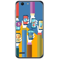 Funda Gel Tpu para Vodafone Smart E8 Diseño Apps Dibujos