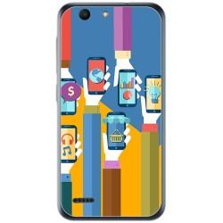 Funda Gel Tpu para Vodafone Smart E8 Diseño Apps Dibujos