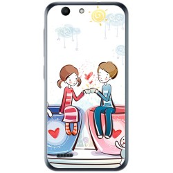 Funda Gel Tpu para Vodafone Smart E8 Diseño Cafe Dibujos