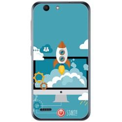 Funda Gel Tpu para Vodafone Smart E8 Diseño Cohete Dibujos