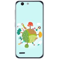 Funda Gel Tpu para Vodafone Smart E8 Diseño Familia Dibujos