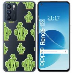 Funda Silicona Transparente para Oppo Reno 6 5G diseño Cactus Dibujos