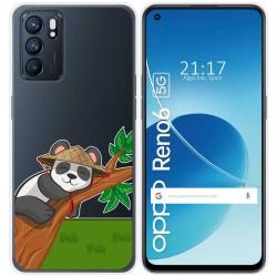 Funda Silicona Transparente para Oppo Reno 6 5G diseño Panda Dibujos
