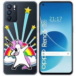 Funda Silicona Transparente para Oppo Reno 6 5G diseño Unicornio Dibujos