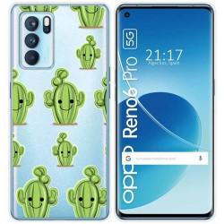 Funda Silicona Transparente para Reno 6 Pro 5G diseño Cactus Dibujos