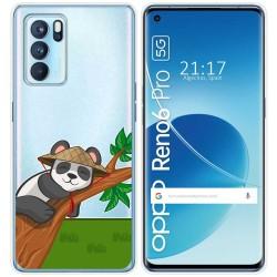Funda Silicona Transparente para Reno 6 Pro 5G diseño Panda Dibujos
