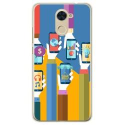 Funda Gel Tpu para Huawei Y7 Diseño Apps Dibujos