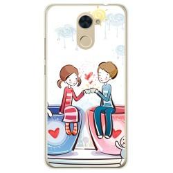 Funda Gel Tpu para Huawei Y7 Diseño Cafe Dibujos