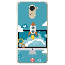 Funda Gel Tpu para Huawei Y7 Diseño Cohete Dibujos