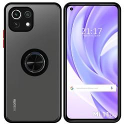 Funda Mate con Borde Negro y Anillo Giratorio 360 para Xiaomi Mi 11 Lite 4G / 5G