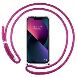 Funda Colgante Transparente compatible con Iphone 13 (6.1) con Cordon Rosa Fucsia