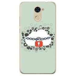 Funda Gel Tpu para Huawei Y7 Diseño Nube Dibujos