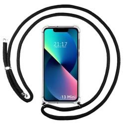 Funda Colgante Transparente compatible con Iphone 13 Mini (5.4) con Cordon Negro