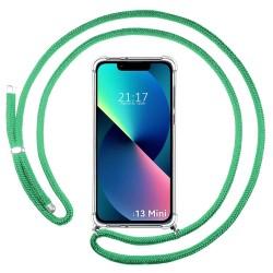 Funda Colgante Transparente compatible con Iphone 13 Mini (5.4) con Cordon Verde Agua