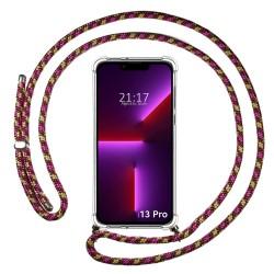 Funda Colgante Transparente compatible con Iphone 13 Pro (6.1) con Cordon Rosa / Dorado