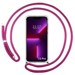 Funda Colgante Transparente compatible con Iphone 13 Pro (6.1) con Cordon Rosa Fucsia