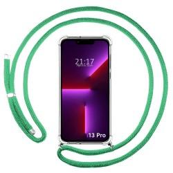 Funda Colgante Transparente compatible con Iphone 13 Pro (6.1) con Cordon Verde Agua