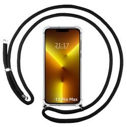 Funda Colgante Transparente compatible con Iphone 13 Pro Max (6.7) con Cordon Negro