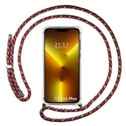 Funda Colgante Transparente compatible con Iphone 13 Pro Max (6.7) con Cordon Rosa / Dorado