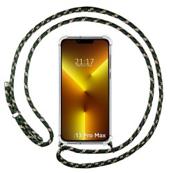 Funda Colgante Transparente compatible con Iphone 13 Pro Max (6.7) con Cordon Verde / Dorado