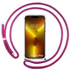 Funda Colgante Transparente compatible con Iphone 13 Pro Max (6.7) con Cordon Rosa Fucsia