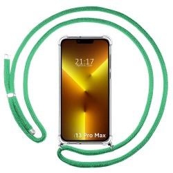 Funda Colgante Transparente compatible con Iphone 13 Pro Max (6.7) con Cordon Verde Agua