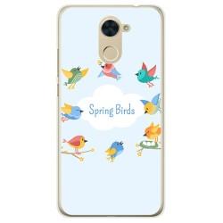 Funda Gel Tpu para Huawei Y7 Diseño Spring Birds Dibujos