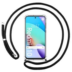 Funda Colgante Transparente para Xiaomi Redmi 10 con Cordon Negro