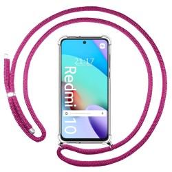 Funda Colgante Transparente para Xiaomi Redmi 10 con Cordon Rosa Fucsia