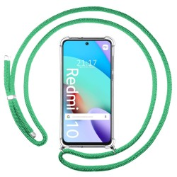 Funda Colgante Transparente para Xiaomi Redmi 10 con Cordon Verde Agua