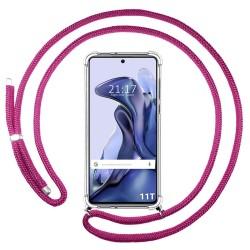 Funda Colgante Transparente para Xiaomi 11T 5G / 11T Pro 5G con Cordon Rosa Fucsia