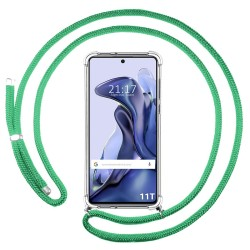 Funda Colgante Transparente para Xiaomi 11T 5G / 11T Pro 5G con Cordon Verde Agua