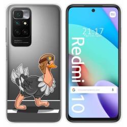 Funda Silicona Transparente para Xiaomi Redmi 10 diseño Avestruz Dibujos
