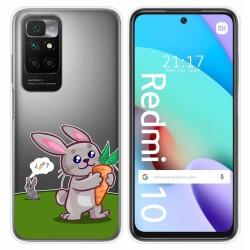 Funda Silicona Transparente para Xiaomi Redmi 10 diseño Conejo Dibujos