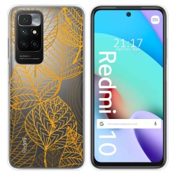 Funda Silicona Transparente para Xiaomi Redmi 10 diseño Hojas Dibujos