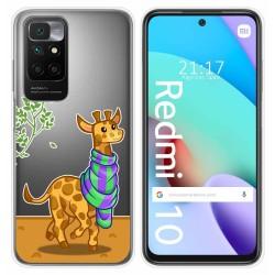 Funda Silicona Transparente para Xiaomi Redmi 10 diseño Jirafa Dibujos