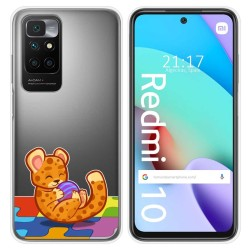 Funda Silicona Transparente para Xiaomi Redmi 10 diseño Leopardo Dibujos