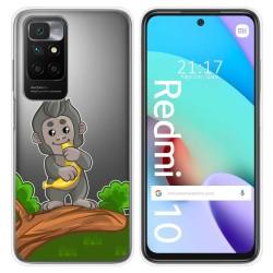 Funda Silicona Transparente para Xiaomi Redmi 10 diseño Mono Dibujos