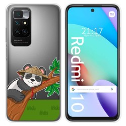 Funda Silicona Transparente para Xiaomi Redmi 10 diseño Panda Dibujos