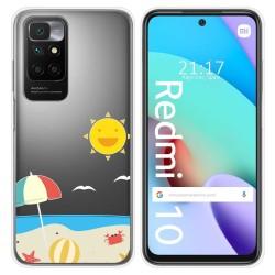 Funda Silicona Transparente para Xiaomi Redmi 10 diseño Playa Dibujos