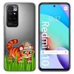 Funda Silicona Transparente para Xiaomi Redmi 10 diseño Tigre Dibujos