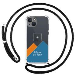 Personaliza tu Funda Colgante Transparente compatible con Iphone 13 (6.1) con Cordon Negro Dibujo Personalizada