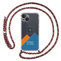 Personaliza tu Funda Colgante Transparente compatible con Iphone 13 (6.1) con Cordon Rosa / Dorado Dibujo Personalizada