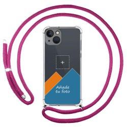 Personaliza tu Funda Colgante Transparente compatible con Iphone 13 (6.1) con Cordon Rosa Fucsia Dibujo Personalizada