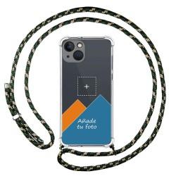 Personaliza tu Funda Colgante Transparente compatible con Iphone 13 (6.1) con Cordon Verde / Dorado Dibujo Personalizada