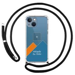 Personaliza tu Funda Colgante Transparente compatible con Iphone 13 Mini (5.4) con Cordon Negro Dibujo Personalizada