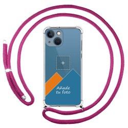 Personaliza tu Funda Colgante Transparente compatible con Iphone 13 Mini (5.4) con Cordon Rosa Fucsia Dibujo Personalizada